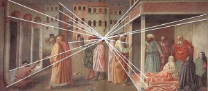 Masolino::the first example of 1 point perspective.  1425